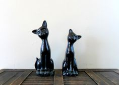 midcentury sleek ceramic black cat figurines pet by compostthis