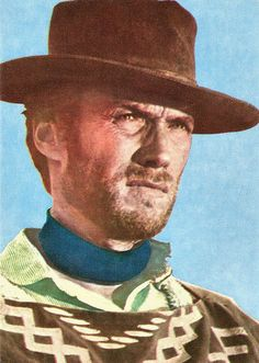 Clint Eastwood. Romanian postcard by Colectia Cinefilului Acin.  American film actor and director Clint Eastwood (1930) rose to fame as the Man with No Name in Sergio Leone's classic Spaghetti Westerns Per un pugno di dollari/A Fistful of Dollars (1964), Per qualche dollaro in più/For a Few Dollars More (1965), and Il buono, il brutto, il cattivo/The Good, the Bad and the Ugly (1966).