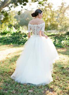 A-line Off Shoulder Half Sleeves Lace Wedding Dress