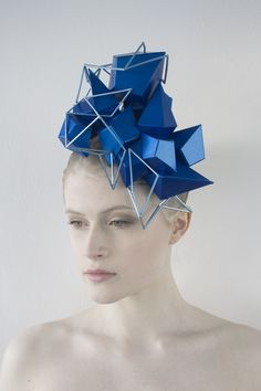 "Wearable Art - Paper Art - Origami Fashion - Geometric Headpiece. ""Crystal Habit Forming"" Headpiece Series. Paper Headpieces inspired by minerals. www.misassembled.com"
