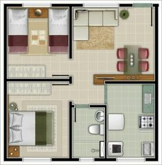 2 Bedroom House Plans, Small House Plans, House Floor Plans, Studio Apartment Layout, Apartment Plans, Sims House, Small House Design, Home Design Plans, House Layouts