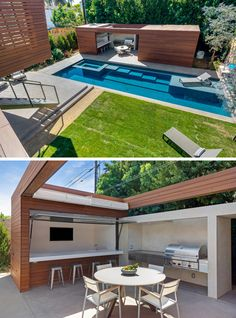 This modern wood and concrete pool house features a bar area with a TV, and a full sized BBQ. A skylight above makes this the perfect place to snack beside the pool. Backyard Pool Designs, Swimming Pool Designs, Terrazas Chill Out, Modern Pool House, Modern Houses, Moderne Pools, Gazebos, Pool House Plans, Pool Cabana