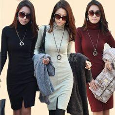 Women's Seamless Stretch Long Sleeve Turtleneck Dress