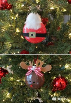 Rudolph and Santa Painted Ornaments - Kids Christmas Craft Noel Christmas, Christmas Crafts For Kids, Christmas Activities, Christmas Projects, Winter Christmas, Holiday Crafts, Christmas Ideas, Christmas Gifts, Painted Ornaments