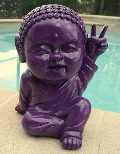 Purple Plum Modern Happy Baby Thai Buddha Peace Sign Lucky Home Decor Zen Kids Buddha Peace, Buddha Decor, Little Buddha, Shades Of Purple, Dark Purple, Sculptures Céramiques, Ring Doorbell, All Things Purple, Colour List