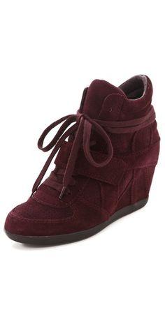 plum suede Ash Bowie Wedge Sneakers