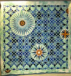 Wyoming State Quilt Guild, 2012 opportunity quilt- 2 of my favorite patterns -storm at sea & mariner's compass