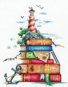 New Modern Cross Stitch Hand Embroidery Kit Book Story, Books Sea Fantasy, Lighthouse, Gift Idea for Book Lovers, Andriana Manufacture Baby Cross Stitch Kits, Cross Stitch Sea, Cross Stitch Beginner, Modern Cross Stitch, Cross Stitch Flowers, Embroidery Kits, Cross Stitch Embroidery, Cross Stitch Patterns, Embroidery Books
