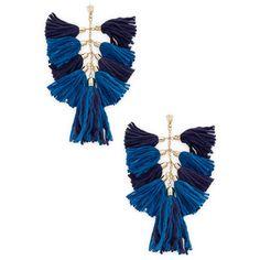 Ettika Jewelry Women's Tassel Chandelier Statement Earrings - Blue (280 SEK) ❤ liked on Polyvore featuring jewelry, earrings, accessories, blue, long chandelier earrings, ettika jewelry, tassle earrings, tassel jewelry and fringe tassel earrings