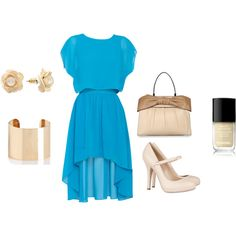 """blue dress"" by lindseyjanee on Polyvore"