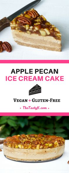 vegan recipes | gluten free | dairy free — This marvellous apple pecan ice cream cake is what dreams are made of! The combination of apples, pecans, cinnamon and gooey date caramel is just heavenly. Although I would associate these flavours with autumn or winter times, due to the fact that's it's an ice cream cake, it also goes perfectly during the summer! — Via thetastyk.com #thetastyk, #vegan, #glutenfree, #dessert, #healthy Vegan Gluten Free, Dairy Free, Cream Cake, Ice Cream, Vegan Food, Vegan Recipes, Pecan Nuts, Dessert Healthy, Caramel Pecan