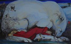woman sleeping with great white bear and sleeping white hare, three goldfinches, two bullfinch, two wrens and a chaffinch - The Guardians - Jackie Morris