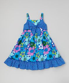 Look what I found on #zulily! Youngland Blue Floral Bow A-Line Dress - Toddler & Girls by Youngland #zulilyfinds
