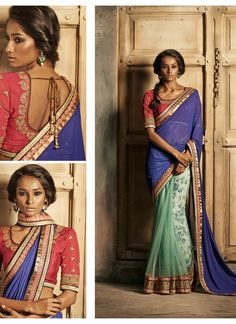 Exotic Blue & Mint Green Embroidered Half And Half Saree