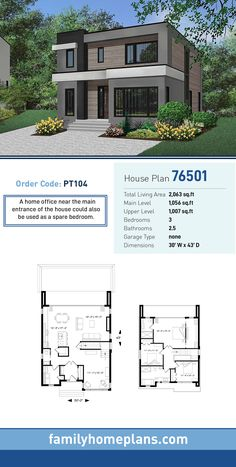 House Plan 76501 - Contemporary, Modern Style House Plan with 2063 Sq Ft, 3 Bed, 3 Bath Bungalow House Design, House Front Design, Small House Design, Modern House Design, Modern Houses, Family House Plans, Dream House Plans, House Floor Plans, House Construction Plan