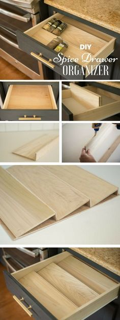 DIY Ideas to Remodel Your Kitchen - 13.Spice Drawer Oranizer - Diy & Crafts Ideas Magazine