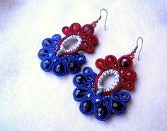 Soutache earrings - Blue redness