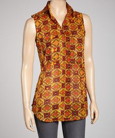 Take a look at this Red & Yellow Sleeveless Button-Up Tunic by Magazine Clothing on #zulily today! $19 !!