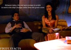 "shewhohangsoutincemeteries:  FireflyFacts 96/98 | Cast and Characters  ""Between takes, the cast were known to prefer to wait in the ship's lounge rather than the green room."""
