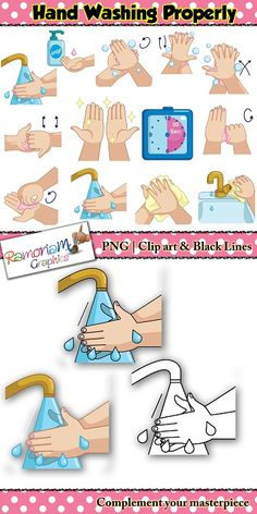This washing hands Clip art set was designed using the WHO correct hand washing recommendation as a guide. I have used fair hands for this particular set but also have a dark skin version. #ramonam #ramonamgraphics #kidsapproved #WHOhandwashing #handwashing #washinghands #handwashingclipart #washinghandsclipart #cleanhandsclipart #cleanhands #howtowashhands
