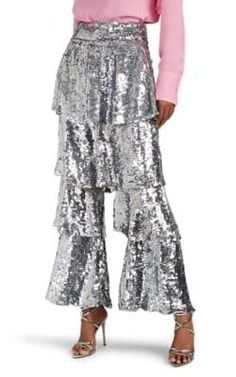 Osman Felix Sequined Tiered-Flounce Pants In Silver Chiffon Pants, Sequin Pants, Sequin Top, Lace Skirt, Pants For Women, Clothes For Women, Ugly Clothes, Ugly Outfits, Dressy Pants