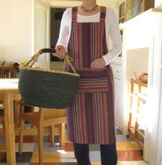 House Apron No 4. Pull-on  no ties. Woven Stripe. Womens  Medium-Large £42.00