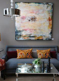 vibrant accents # grey walls
