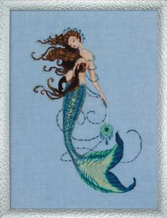 Renaissance Mermaid Linen Beaded Counted Cross Stitch Kit by Nora Corbett Mirabilia Designs (Bundle: Cross Stitch Chart, Fabric, Beads, Kreinik Braid, Silk Floss) Cross Stitch Kits, Cross Stitch Charts, Cross Stitch Designs, Cross Stitch Patterns, Renaissance, Mermaid Cross Stitch, Mermaid Images, Mill Hill Beads, Mermaid Diy