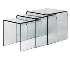 $229 Set Of 3 Tables • Trendy nest of three glass tables with thick tempered glass • A bright idea to make your living room more spacey • Each table is designed to fit easily with any contemporary setting   • Use as a coffee, corner, end or side table  • Simple and quality design   • Affordable fully glassed nesting tables