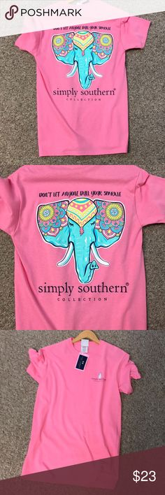 Simply Southern SS Womens Vest Size L Pink w Gold Elephants Full Zipper New