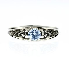 Aquamarine engagement ring, white gold, filigree ring, blue engagement, solitaire, vintage style, lace ring, birthstone OMG this is gorgeous...and outside my budget... :(