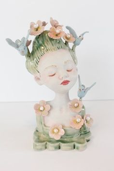 Amelie Pottery Sculpture, Sculpture Art, Sculptures, Porcelain Clay, Painted Porcelain, Paper Clay Art, Celtic Mythology, Art For Art Sake, Art Studios