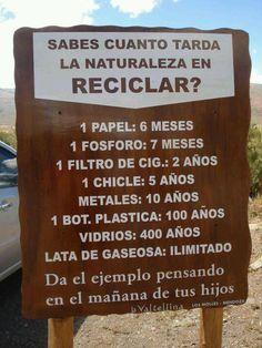 ¿Sabes cuanto tarda la naturaleza en reciclar?