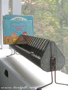 chicken feeder as book stand