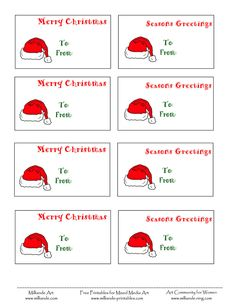 free printable christmas labels santa hat christmas gift tags to print