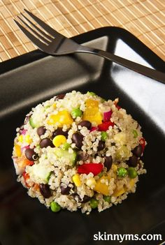 Quinoa Salad. It's filled with fresh, healthy veggies, and it offers plenty of protein. #quinoa #protein #recipe
