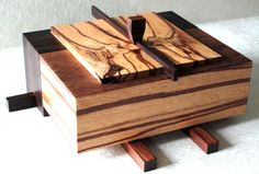 Custom made exotic hardwood box made from woods purchased at Cook Woods in Klamath Falls, Oregon. Woodworking Box, Woodworking Workshop, Woodworking Projects, Woodworking Patterns, Woodworking Classes, Custom Woodworking, Small Wood Box, Small Boxes, Wooden Jewelry Boxes