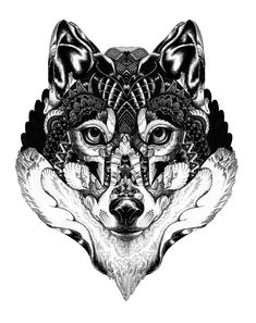 Cool Flaming Things to Draw | cool portrait of a wolf in my own style took a while to draw with ...