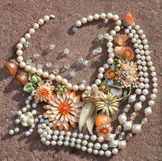 Handmade Statement Necklace. Vintage Jewelry - Enamel Flowers. High fashion. Peach, cream, gold. Bridal Necklace.