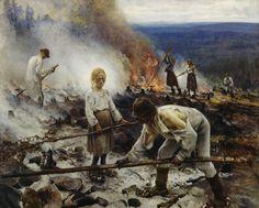 Eero Järnefelt: Raatajat rahanalaiset (Kaski), 1893. Lähde: Ateneum