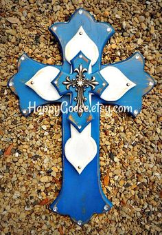 Wall Cross - Wood Cross - Medium - Antiqued Blue & White with Silver Top Cross