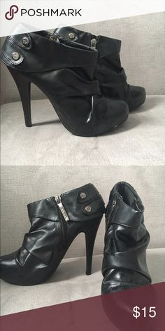 Shiekh Booties with Heel A pair of high heeled booties, size 6 1/2. Disclaimer: Worn a couple of times and has a couple of minor scratches. Offers suggested! Shiekh Shoes Ankle Boots & Booties