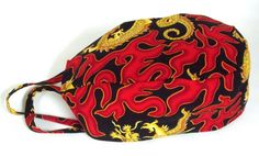 Men's Tie Back Surgical Scrub Hat in Dragon Flames by ScrubsbyEdie