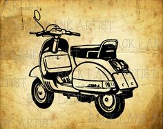 Vintage Motorcycle Scooter Clipart Lineart by BackLaneArtist