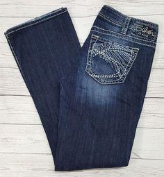 2b1f093ee7c Silver Jeans Aiko Curvy Dark Wash Distress Thick Stitch Low Rise Bootcut  W30 L33 #SilverJeans #BootCut