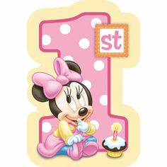 A491139 - Minnie Mouse 1st Birthday Invitations. Minnie Mouse 1st Birthday Invitations, Contains 8 Invitations, 8 Envelopes, 8 Sticker Seals & 8 Save The Date Stickers. - Pack of 8. Please note: approx. 14 day delivery time.