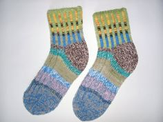 Hand Knitted Wool Socks- for Women - Size Medium- Colorful-USA W7,5-8,EU 39 on Etsy, $18.00