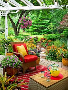 GardenGoddess: Patios That Pop with Color! a carnival of garden colors