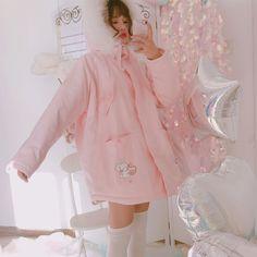 ab50ae47a2 Pink Bunny Rabbit Print Cartoon Jackets Emo Fashion