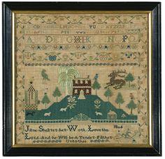 Jane Shearer - Delaware Valley, Pennsylvania - 1806. silk on linen.